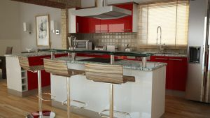 Dark red kitchen by George-streets