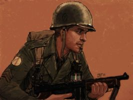 ww2 us soldier with thompson by JesusFood