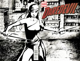 Daredevil Elektra Sketch Cover by ChrisMcJunkin