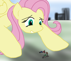 Fluttershy as giant and crouching by Feyzer
