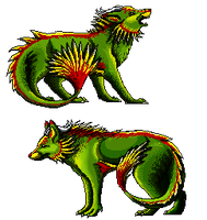 Pixel dragon-wolf by momodory09