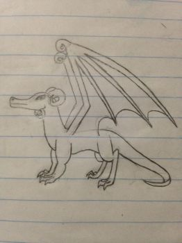 Dragon With Curly Horns by TylerOnCheese