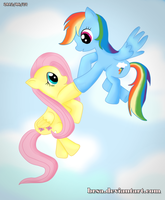 MLP FlutterShy and RainbowDash by brsa