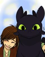 Hiccup and Toothless by forkandspoon00