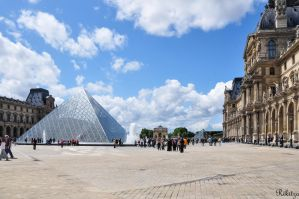 Pyramid under Paris sky by Rikitza