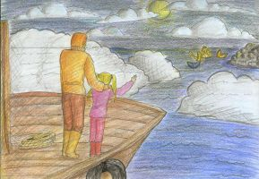 Moonlight, Fishermen and Mermaid by seawaterwitch