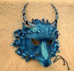 Custom Duochrome Teal Dragon Mask by merimask