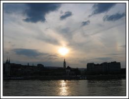 Sunset over Danube River by jotamyg
