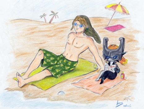 Link and Midna at the seaside by MidnaThePrincess