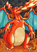 Charizard Sketch Card by ibroussardart