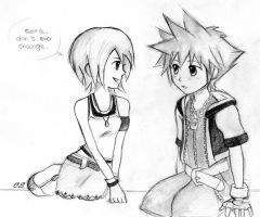 Sora and Kairi sketch by Cate397
