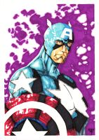 Captain America - bust in colors by guillomcool
