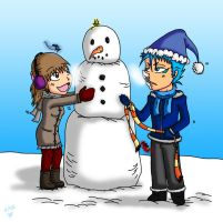 holiday gift: Chihiro and Grimm's snowman by feerl