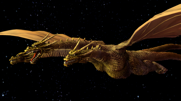 king ghidorah by Scythwing