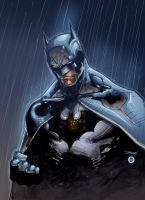 Batman in the rain by AlonsoEspinoza