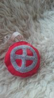 Felt Ornament - Red with sun wheel by TerraRavenBearheart