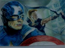 Captain America And Hawkeye From Avengers by CeNa-Fan