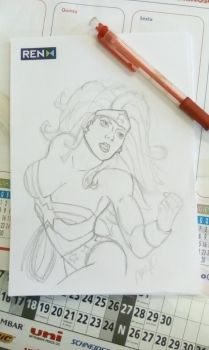 first sketch of the day ! (wonderwoman) by Fantom17