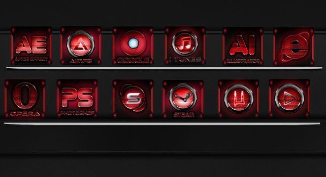 red glass icons png by bluexr