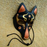 Fancy Black Kitsune Mask by merimask