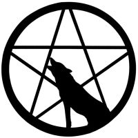 Wolf howling at Pentacle moon by Pagan-And-Proud