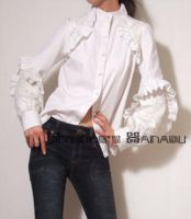 White Lace Cotton Blouse by yystudio