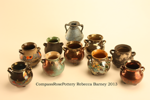 Mini Olive Oil Pots- Raku by CompassRosePottery