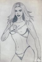 Sexy Babe 2 Old Drawing by Taj-P