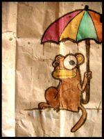 monkey with umbrella by sHauro