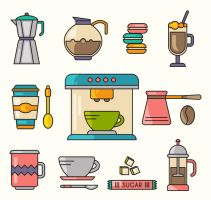 11 Color Coffee Element Vector by FreeIconsdownload