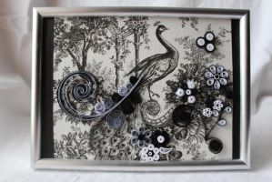 Quilled Painting - Black and White Peacock by cireshika
