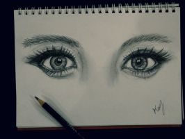 Attractive Eyes Sketch by mrkmhtet