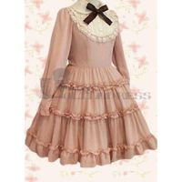 Discount Long Sleeves Ruffles Bowknot Pink Classi by haluson