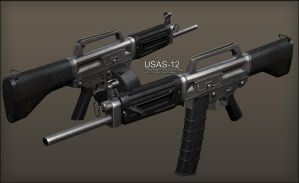 3D - USAS-12 (in progress) by pete-c-89