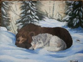 Bear and Wolf commission by debbynaomi