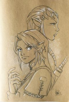 Link and Zelda sketch by DaniDocampo