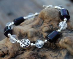Flourite and Knotwork Bracelet by DreamingDragonDesign