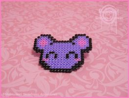 Kawaii Pixel Bear Sama Pin by Gloomyswirl