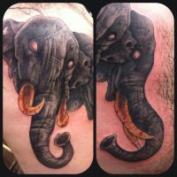 Three headed elephant in progress by WillemXSM