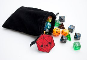 Dice Bag with Cute D20 by brandimillerart