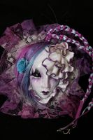Art doll Face Necklace, Purple by cliodnafae27