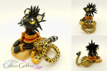 Leopard griffin Kotiya - polymer clay sculpture by CalicoGriffin