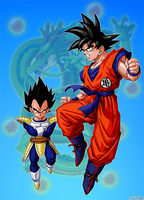 Goku and Vegeta by Niiii-Link