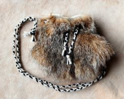 Bobcat fur necklace pouch by lupagreenwolf