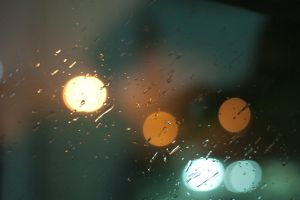 Bokeh and Raindrop On Window by Scorpini-Stock