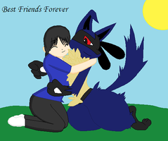 Trainer and Lucario: Best Friends Forever by perl7789