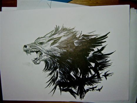 Wolf crows tattoo version 2 by THETROLLESQUE
