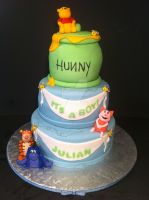 Winnie the Pooh Babyshower Cake by Corpse-Queen