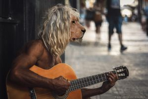 Lionman in the street by TwinMiaou