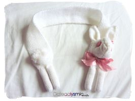 Albino Bunny Scarf by Cateaclysmic